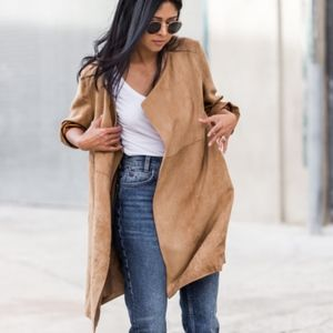 {H&M} Imitation Suede Draped Coat